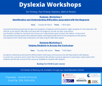"WEBINAR - Dyslexia - (A two part webinar commencing on Tues 9th Mar & concluding on Thurs 18th Mar. Webinar 1- ""Identification and Understanding Difficulties associated with the Diagnosis"" (P/PP)"